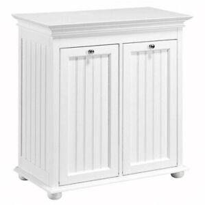 Hamper 27 in. x 13 in. Double Tilt-Out Beaded-Board Panels Wood White Finish