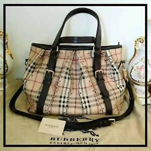 Burberry Haymarket Check Lowry Canvas Leather Metal Stitch Shoulder Bag Handbag
