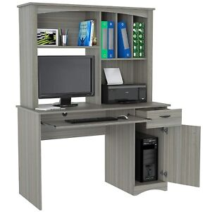 Contemporary Desk with Hutch Home Office Stylish Workstation Storage Drawer Grey