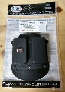 Fobus 4500 Holster Double Magazine Pouch, Paddle, Single Stack .45 Cal 9MM Black