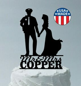 Personalized Police Man and Bride Wedding Cake Topper, Police Officer Policeman