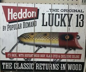 Heddon Famous Fishing Lures Sign Wood  Wall Hanging Nautical Decor NEW!