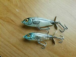 (2) Vintage Bomber Rip Shad topwater prop baits Lot of 2 fishing lures