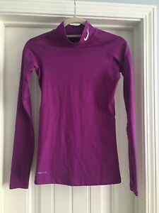 NIKE Pro Combat Women's XS Dri-Fit Thermal Pullover Top Purple Long Slv. FITTED