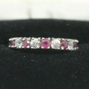Ladies Nikolas Sterling Silver Ruby And Cubic Zirconia Anniversary Band Size 7