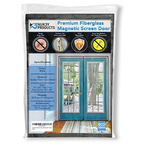 Upgraded 72quot;x80quot; Magnetic Screen Door for French Door Premium Fiberglass