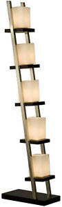 NOVA Floor Lamp 61 in. Modern Staircase Design Frosted Glass Nickel Base 5-Light