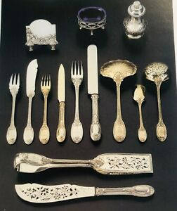 EXQUISITE STERLING/VERMEIL FLATWARE SERVICE, 619 Pieces, MAISON ODIOT, PARIS FR