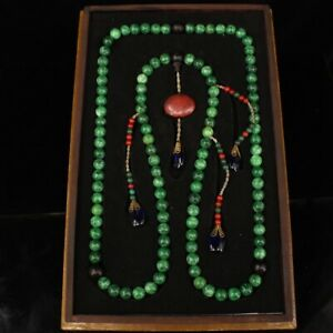 17quot; Chinese old antique qing jadeite jade court beads with dragon box statue $298.15
