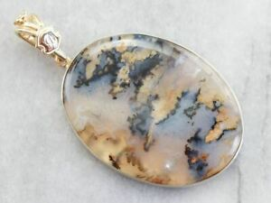 Large Mixed Metal Dendritic Agate Pendant