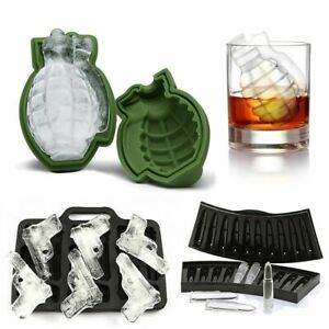 Silicone Gun Ice Cube Mold Mould Bullet Tray Fruit Candy Maker Kitchen Ice Cream