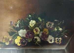 SALE! Antique Victorian OIL ON CANVAS PANSIES PAINTING~Floral Still life~no rose