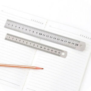 3 Size Steel Stainless Pocket Pouch Metric Double Sided Metal Ruler Measurement $1.07