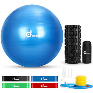 Exercise Yoga Ball Kit Fitness Foam Roller Resistance Muscle Therapy Exercise