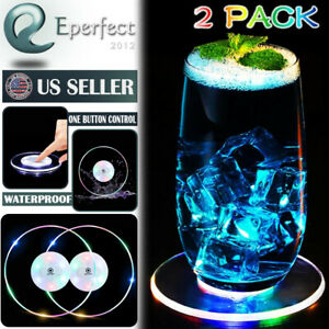 2 LED Cup Pad Mat Holder Bar Party Decor Drink Coaster Luminous Atmosphere Light $10.99