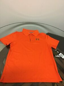 NWT Under Armour Boy's HeatGear Loose Fit Orange Polo Golf Shirt Youth Large New