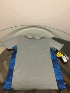 NWT Under Armour Boy's HeatGear Loose Fit Gray Blue Polo Golf Shirt Youth Large