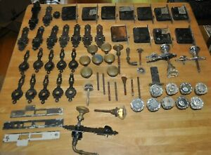 11 ANTIQUE YALE COMPLETE LOCKSETS with CRYSTAL & BRASS KNOBS ORIGINAL HARDWARE !