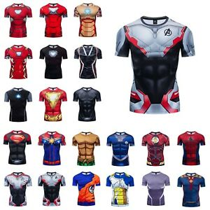 New Marvel 3D Printed T Shirt Superhero Costume Cosplay Compression Gym Tee Top $10.44