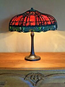 ANTIQUE HANDEL TEROCA TABLE LAMP TROPICAL SUNSET DESIGN SIGNED ON BASE