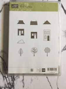 Stampin' Up Good Neighbors rubber stamp set ~house home trees cloud