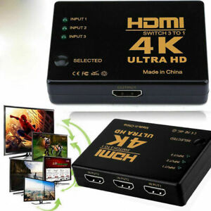 3 Port HDMI Switch 4K Splitter Switcher Selector HUB Box Cable For HDTV PS4 Xbox
