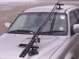 Vac-Rac Car Fishing Rod Rack. Combi model both Magnetic & Vacuum attachment.