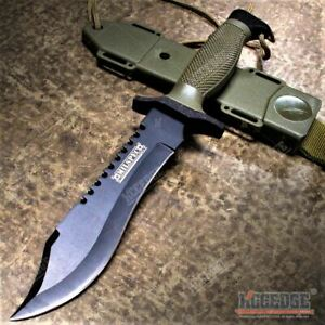 12quot; MILSPEC Tactical Hunting Survival Bowie Fixed Blade Knife w Saw On Spine