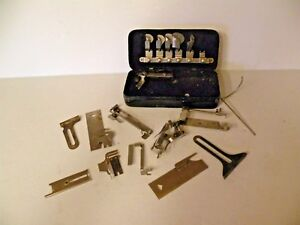 OLD SEWING MACHINE ATTACHMENTS IN METAL BOX GREIST $13.75