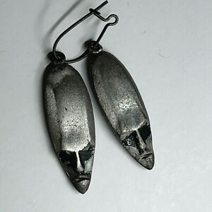 Two Antique Victorian Mourning Period Death Head Charms or Single Earring