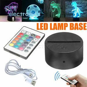 3D Led Lamp Base Night Light USB Touch 7 Colors Change Lamp Panel Remote US