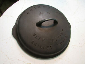 Vintage GRISWOLD # 8 Cast Iron SKILLET LID Frying Pan Low Dome COVER - Very Nice