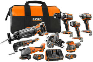 RIDGID Combo Tool Kit 8-Tool 18-Volt Lithium-Ion Cordless Battery Charger Bag