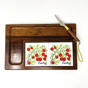 Vintage 70s Cheese Ceramic Tile Wood Cutting Board Set Serving Tray with Knife
