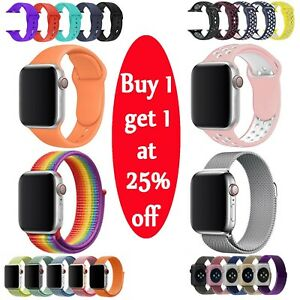 Silicone Nylon Stainless Steel Band Strap For Apple Watch 1/2/3/4 38/42/40/44mm