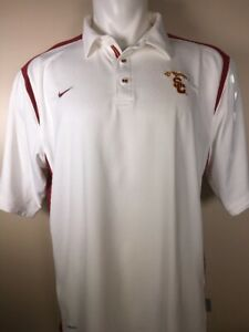 NIKE Mens Red White USC Trojans Fit Dry Polo Golf Athletic Shirt LARGE