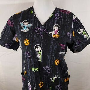 BETTY BOOP Halloween Scrub Top Size Small With Trick or Treat Theme
