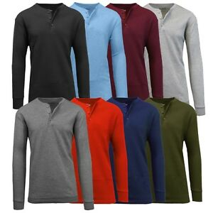 Mens Henley Thermal Shirts Undershirts Tee Long Sleeve Regular Fit Crew Neck NWT $12.99