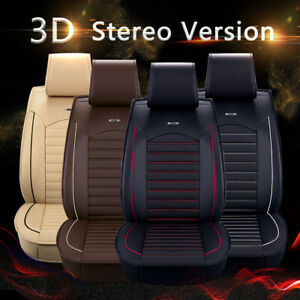Universal Deluxe 5-Seats Car Seat Cover Front PU Leather & Rear Cushion Full Set
