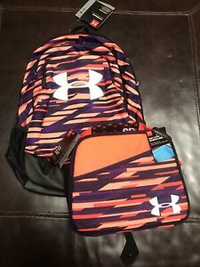 Under Armour Girls Scrimmage BackPack & Insulated Lunch Box Orange Purple Set