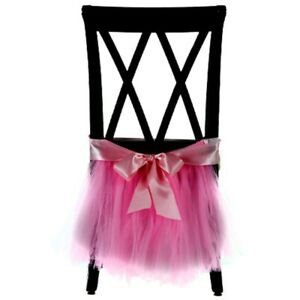 Chiffon Chair Dress Skirt Accessories for Wedding Party Event Decor Rose DL5Q