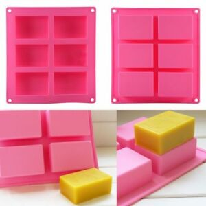 6-Cavity Rectangle Soap Mold Silicone Mould Tray For Homemade DIY Making Simple
