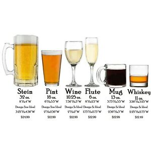 Design Your Own Custom Personalized Glass Beer Stein, Pint, Wine, Flute, Whiskey
