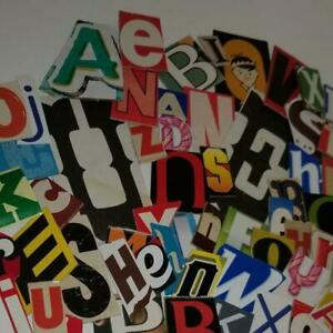75 Colorful cardboard letters clippings vintage ephemera paper art supplies
