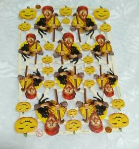 Halloween German Die cut Witches and Cats Paper Scraps Embossed