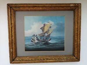 Beautiful Antique 19th Century Nautical Oil Painting of a Ship at Sea