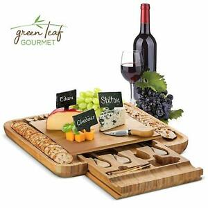 Bamboo Cheese Board with Cutlery Set Wooden Charcuterie Platter Serving Meat