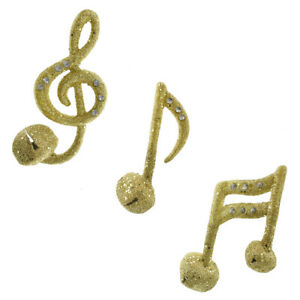 Glitter Gold Musical Bell Ornaments 4 Inch 3 Piece