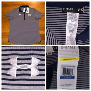 NWT Under Armour Women's Striped SS Loose Fit Heat Gear Golf Polo Shirt Size XL