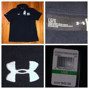 NWT Under Armour Women's Black SS Loose Fit Heat Gear Golf Polo Shirt Sz Large